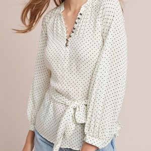 anthropologie lucy polka dot blouse